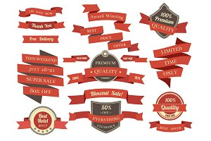 Shopping banners and ribbons with