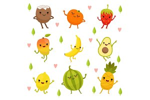 Funny emotion on cartoon fruits and