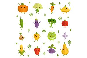 Vegetables characters with funny