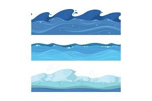 Ocean or sea water waves. Vector set