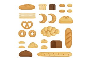 Different sorts of bread. Vector