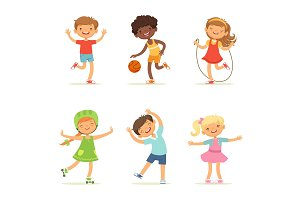 Kids playing in active games. Vector
