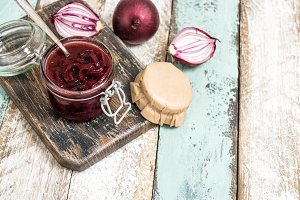 Red onion marmalade in jar Vegetable
