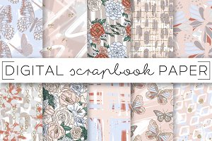 Floral Butterfly Digital Papers