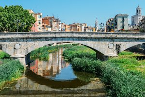 Girona Bridge on River Onyar, Spain