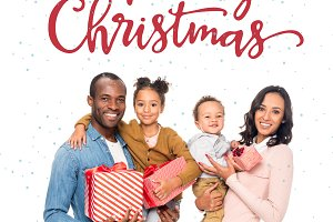 african american family with christm