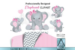 Girl elephant pink and gray elephant