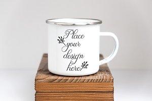 Enamel tin mug mockup metal cup psd