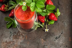 Healthy fresh strawberry smoothie