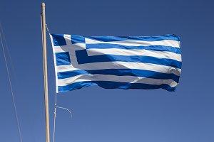 Greek flag isolated on a blue sky