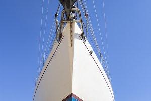 Sailboat in a shipyard waiting to be