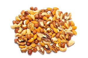 Heap many kinds of hazelnuts isolate