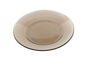Dark transparent plate on white back