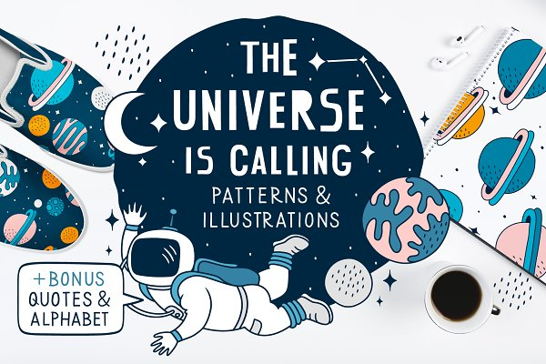 Illustrations and Illustration Products: nekoshki - Space illustrations & patterns