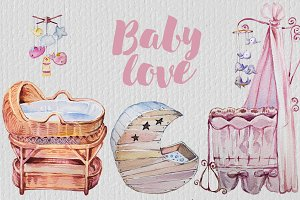 Watercolor Baby Love Clipart