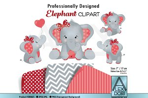 Elephant girl red gray clipart