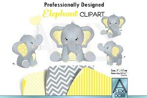 Elephant yellow gray unisex clipart