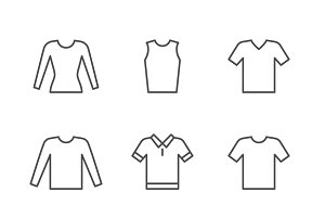 Set line icons of t-shirt