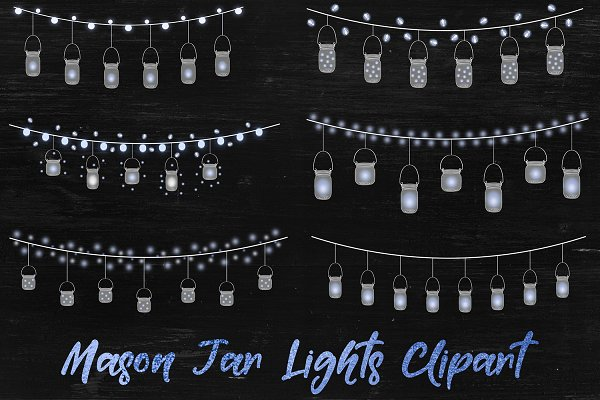 Mason Jar Lights - Blue