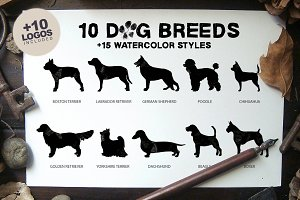 10 Dog Breeds + 15 Watercolor Styles
