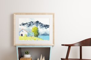 Home with mountain watercolour