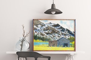 House with mountain watercolour