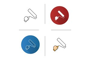 Hand holding paint roller icon