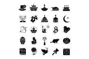 Holidays glyph icons set