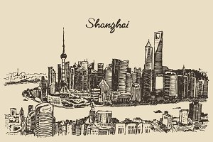 Shanghai City skyline (China)