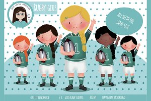 little rugby girls cliparts