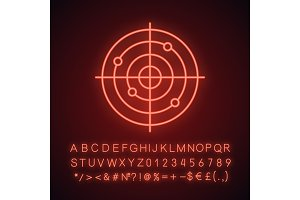 Gun target neon light icon