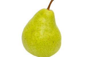 Green pear isolated on white.