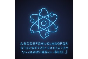 Atom structure neon light icon