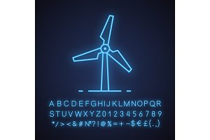 Windmill neon light icon