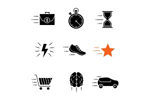 Motion glyph icons set
