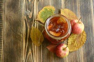 Homemade apple jam in a jar