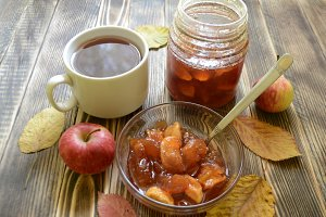 Cup of tea, apple jam