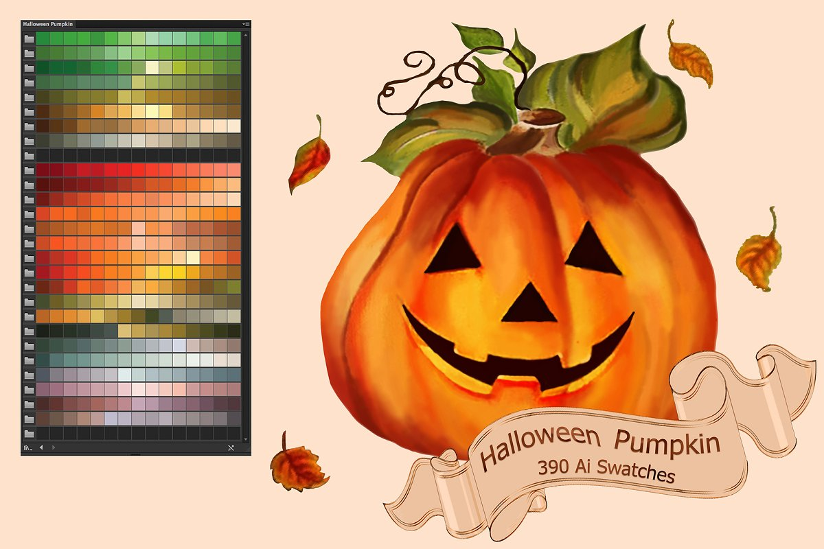 Halloween Pumpkin Ai Swatches