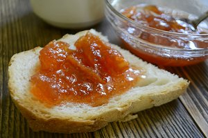 toast or bread with apple jam