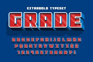 Extrabold 3d display font design