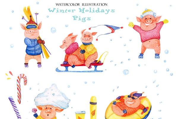 13 winter pigs and 4 piggy-snowmen