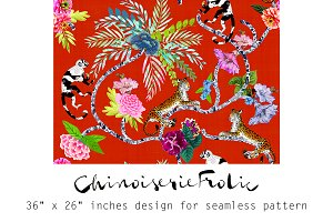 Chinoiserie Frolic-Seamless Pattern