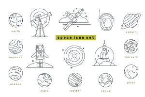 Line space icon set and pattern