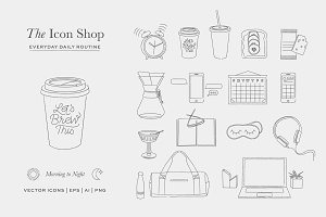 Daily Routine Icons Illustrations