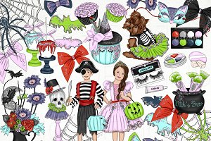 Halloween Fashion Kids Clip Art