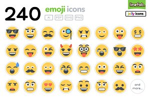 240 Emoji Icons - Jolly