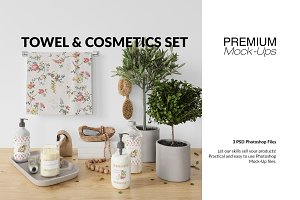 Towel & Cosmetics Mockup Set
