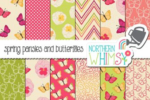 Spring Butterfly Seamless Patterns