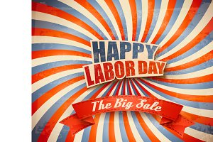 Labor Day Sale Retro Background