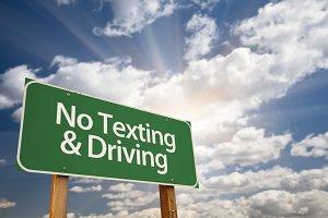No Texting and Driving Green Sign